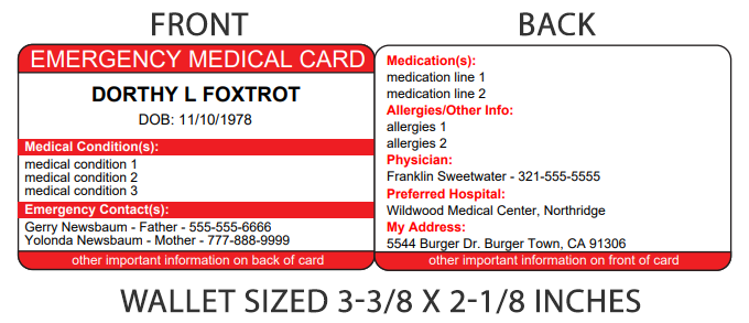 Emergency Medical Information Card For Wallet